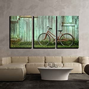 wall26 - 3 Piece Canvas Wall Art - Old Bicycle Leaning Against Grungy Barn - Modern & Amazon.com: 5 Panel Wall Art Old Rusty Vintage Bicycle Near The Wall ...