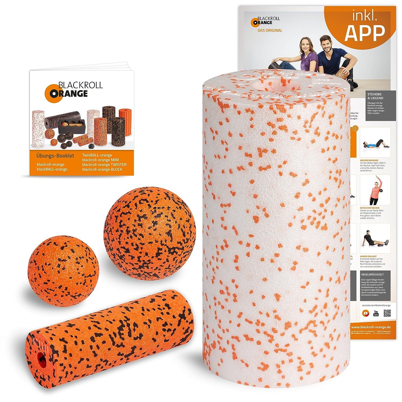 Schwarzroll Orange Starter Set, mit der Faszienrolle MED, alles für den softeren Einstieg ins Faszientraining, inkl. Übungsposter und Booklet