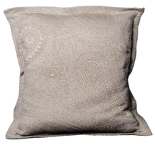 Colcha Cubrecama Sabri de Jacquard Cashmere en Color Blanco, Gris o Beige (Todas Las Medidas). (Beige, 1 Funda Cojin 50x50 + 3cm de pestaña)