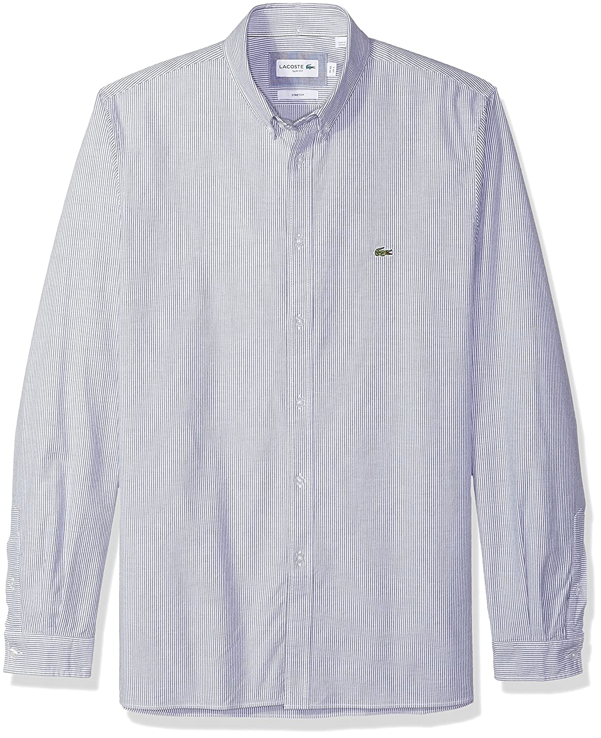 2357fe51 Lacoste Men's Long Sleeve Oxford Stretch Stripe Collar Slim Woven Shirt,  CH5022, Navy Blue, Small at Amazon Men's Clothing store:
