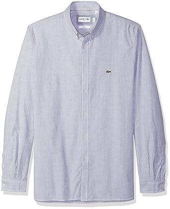 a8e0db48a Lacoste Men s Long Sleeve Oxford Stretch Stripe Collar Slim Woven Shirt