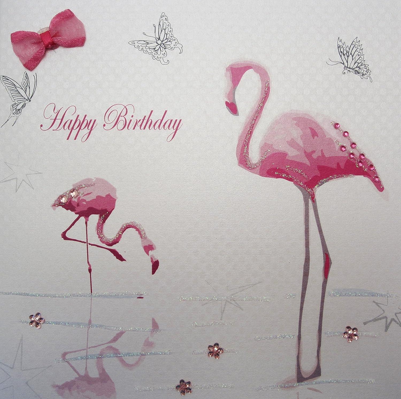"White Cotton Cards Flamingo s ""Happy Birthday"" Handmade Birthday"