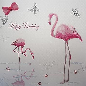 WHITE COTTON CARDS Happy Handmade Birthday Card Flamingos