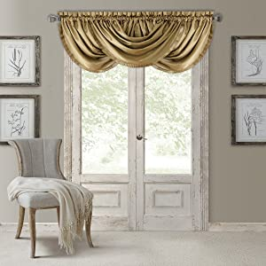 """Elrene Home Fashions Versailles Faux Silk Room Darkening & Energy Efficient Lined Rod Pocket Window Curtain Drape Pleated Solid Waterfall Valance 52"""" x 36"""" (1), Gold"""