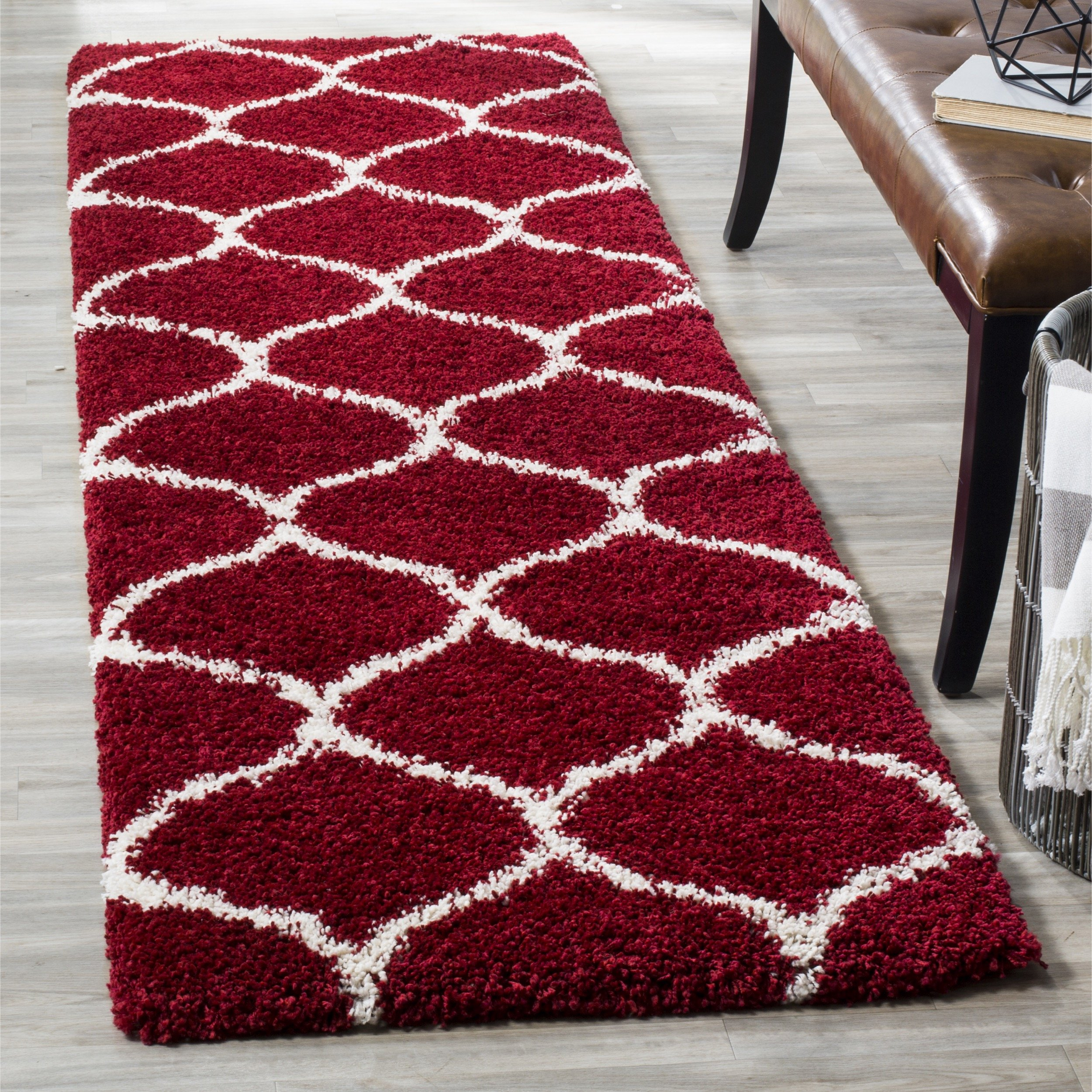 Safavieh Hudson Shag Collection SGH280R Red and Ivory Moroccan Ogee Plush Runner (2'3'' x 8')