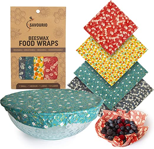 Set of 4 Reusable Beeswax Food Wrap-Choose your fabric Plastic Replacement, Eco
