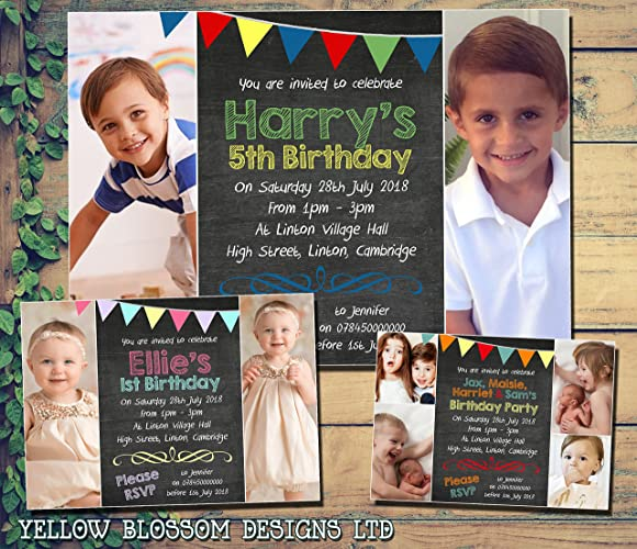Personalised Photo Cards Chalkboard Bunting Primary Colours Birthday