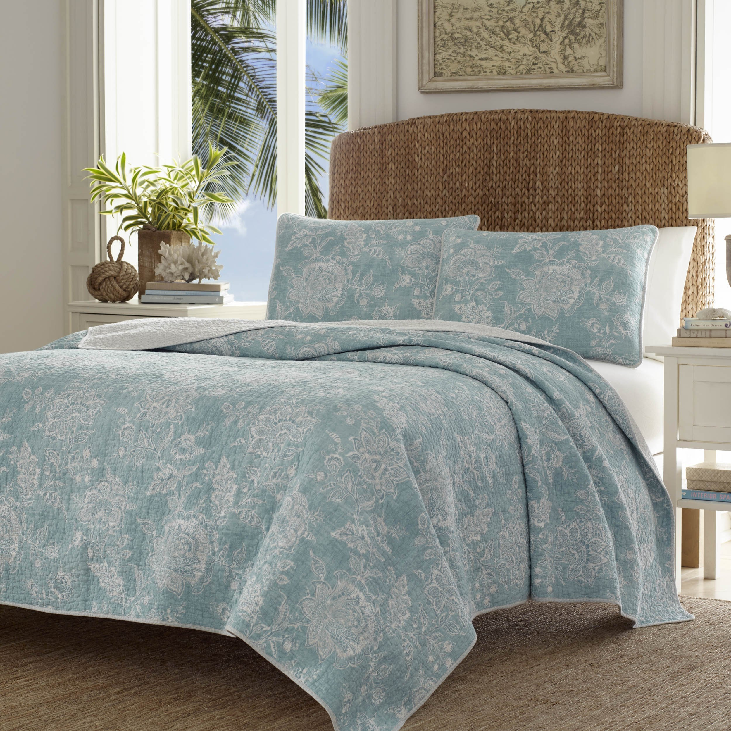 Tommy Bahama 220120 Tidewater Jacobean Reversible Quilt Set, King, Blue/Green