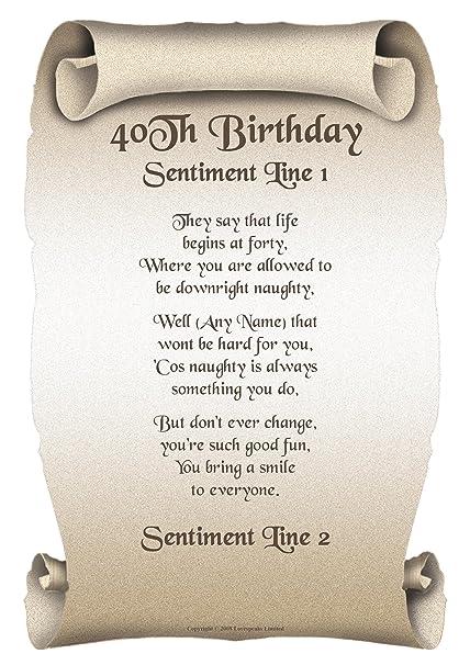 Personalised 40th Birthday Poem Gift Print: Amazon.co.uk: Kitchen