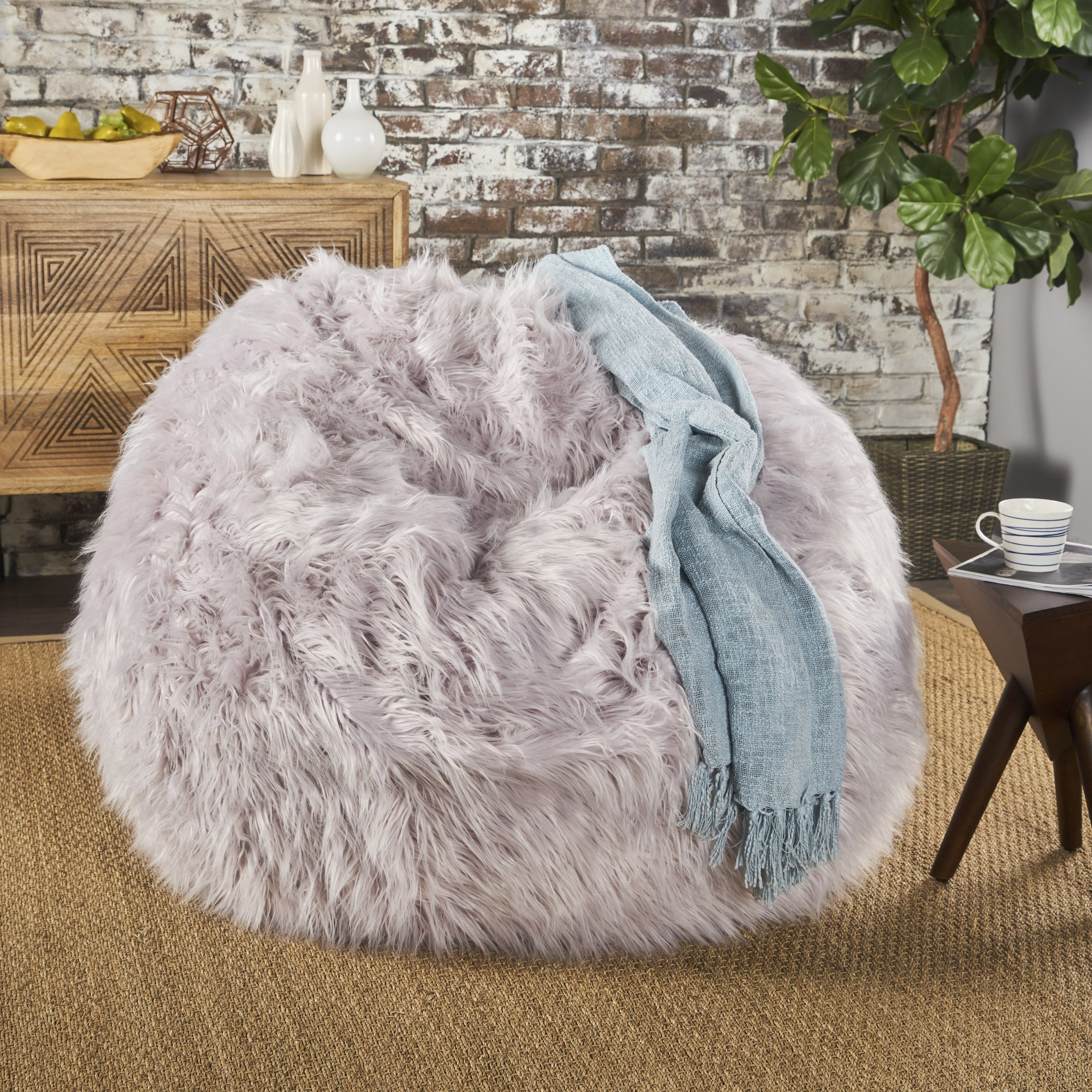 Lycus Faux Fur Bean Bag Chair (Lavender) by GDF Studio
