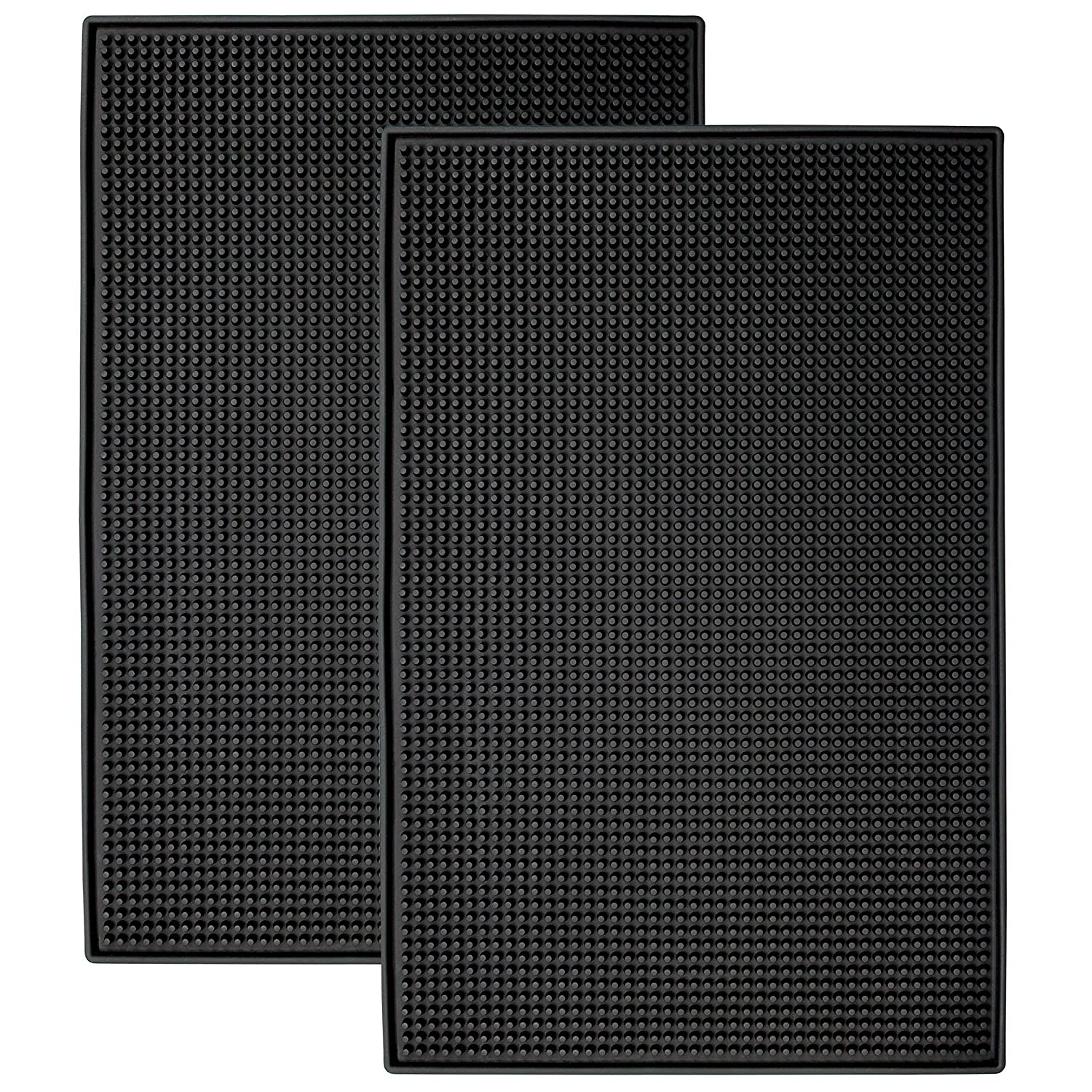 "STS S&T 428001 Heavy-Duty Rubber Bar Mats - 11.9"" x 17.8"", Black, 2PK x .4"""