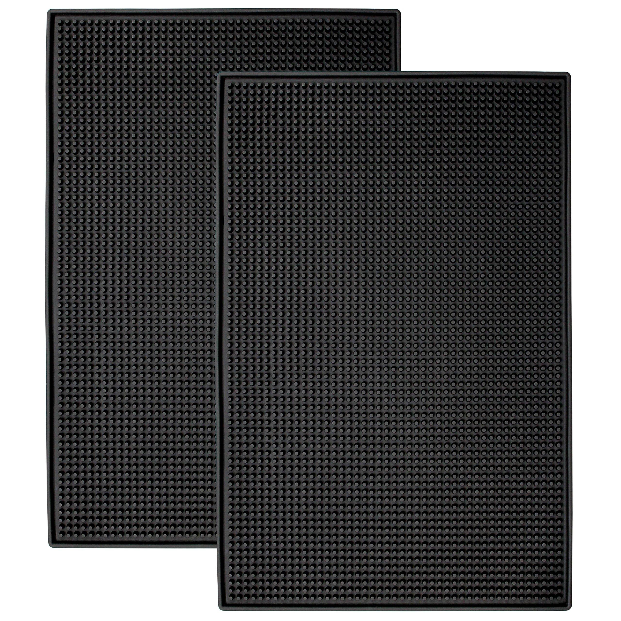 STS S&T 428001 Heavy-Duty Rubber Bar Mats - 11.9'' x 17.8'', Black, 2PK, x .4'' by STS