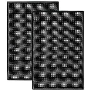 "STS S&T 428001 Heavy-Duty Rubber Bar Mats - 11.9"" x 17.8"", Black, 2PK x .4"""
