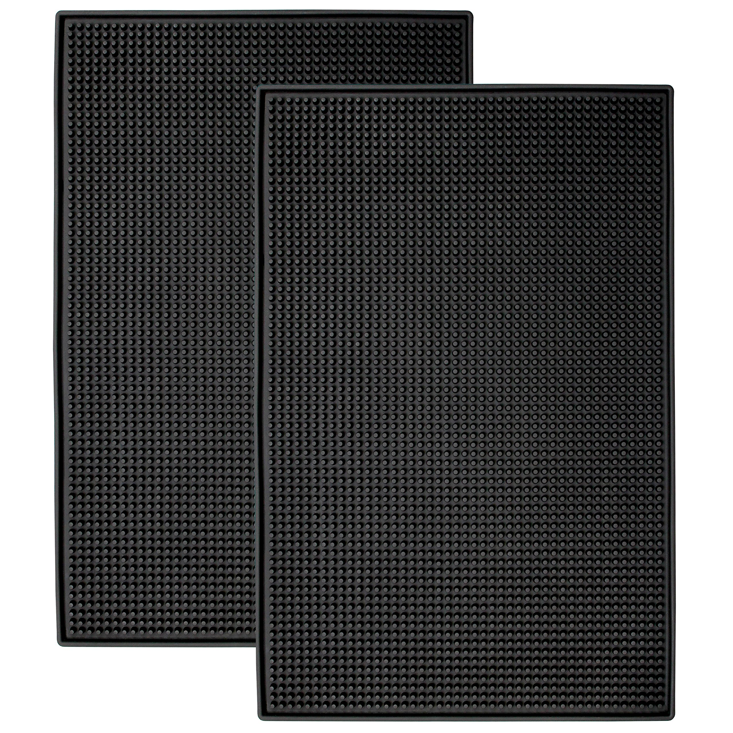 Schroeder & Tremayne, Inc. 428001 Heavy Duty Rubber Bar Service Mat, Rubber Black, 2 Pack