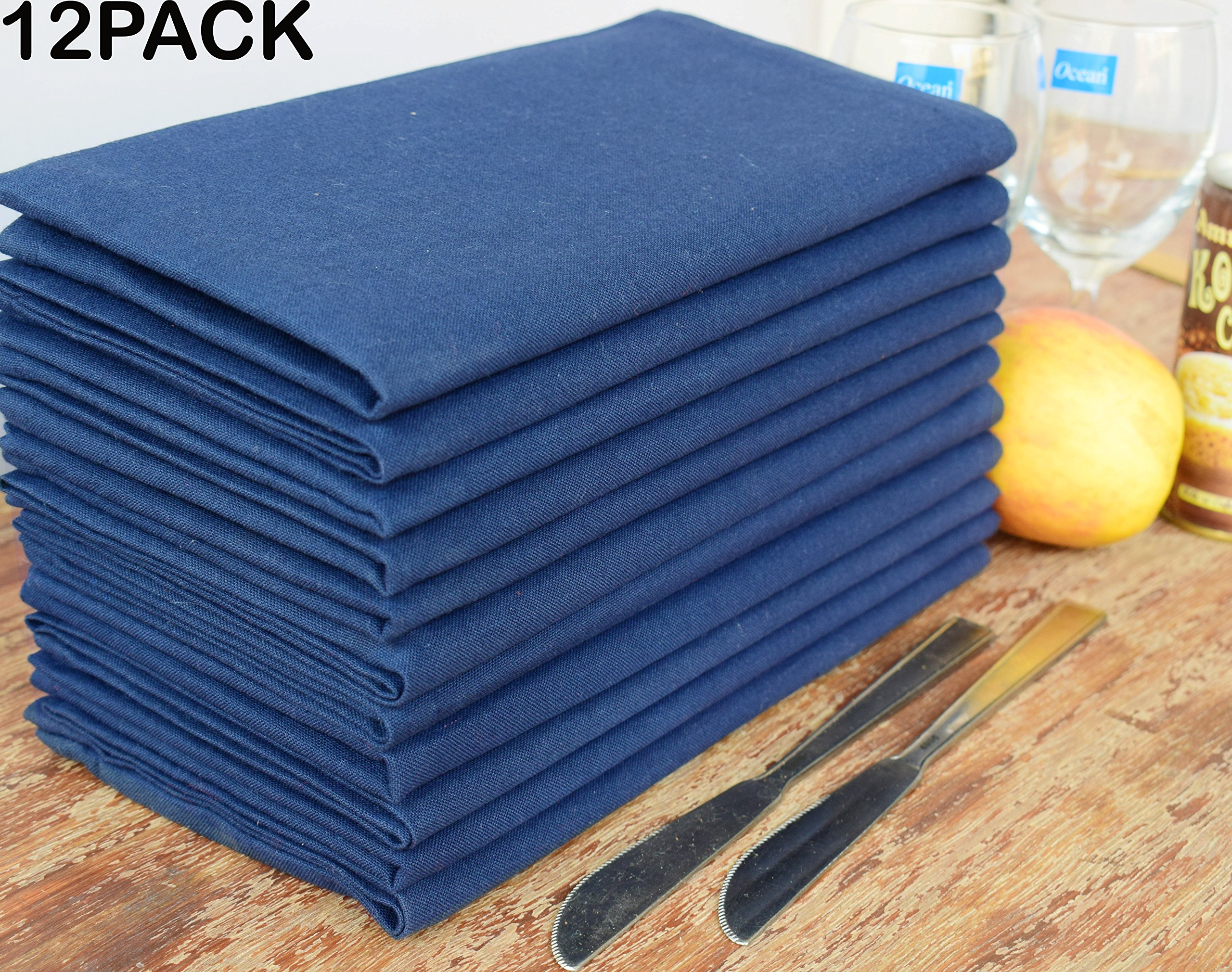 Linen Clubs Pack of 12 Pieces,100% Cellulose Cotton fibres,20'' Square, Oversize Solid Colored Dinner Napkin with Decorative selvage fold. By (Night Sky-Navy)