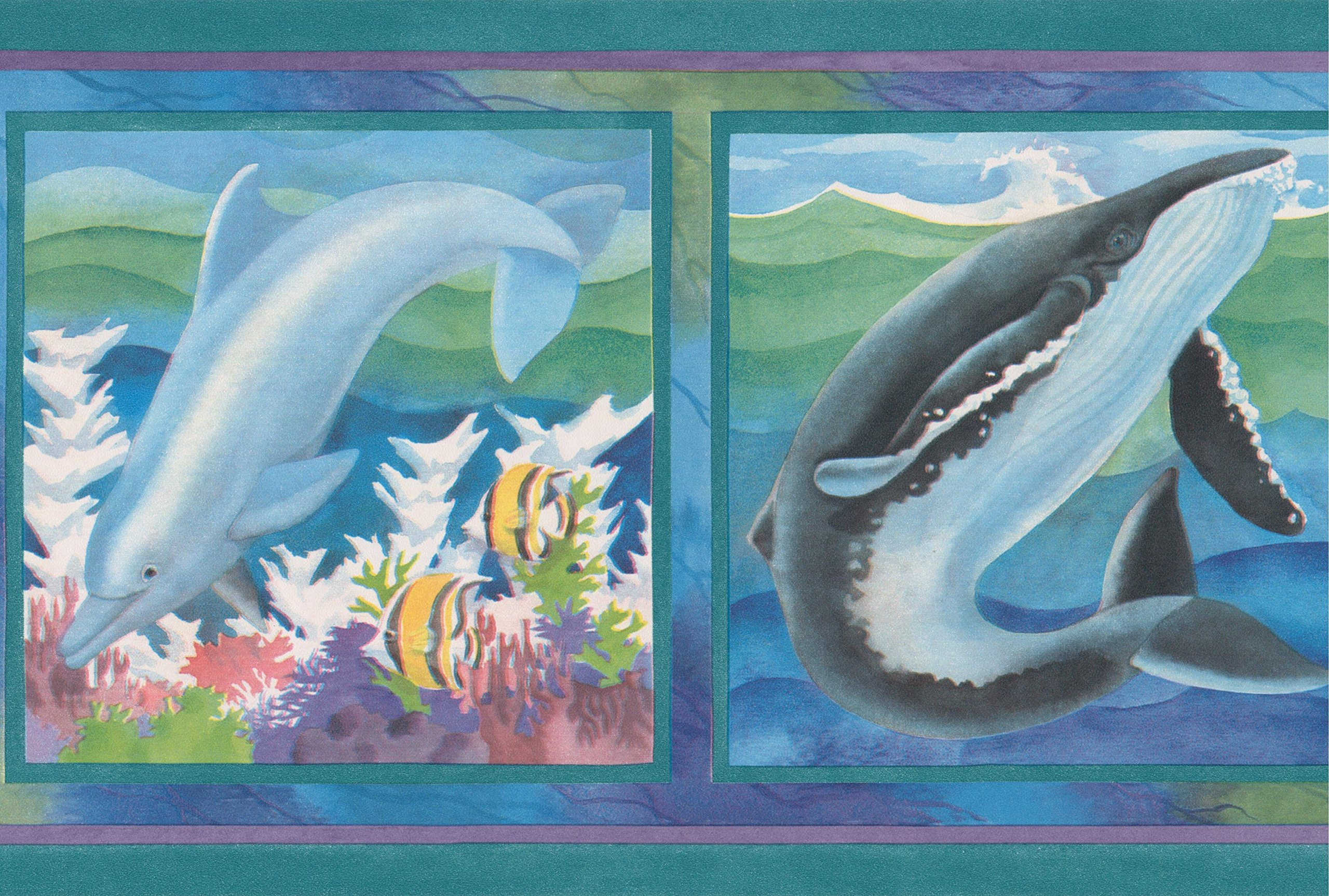 Dolphin Walrus Shark Whale on Pictures Blue Green Wallpaper Border for Kids Bathroom Bedroom, Roll 15' x 7''