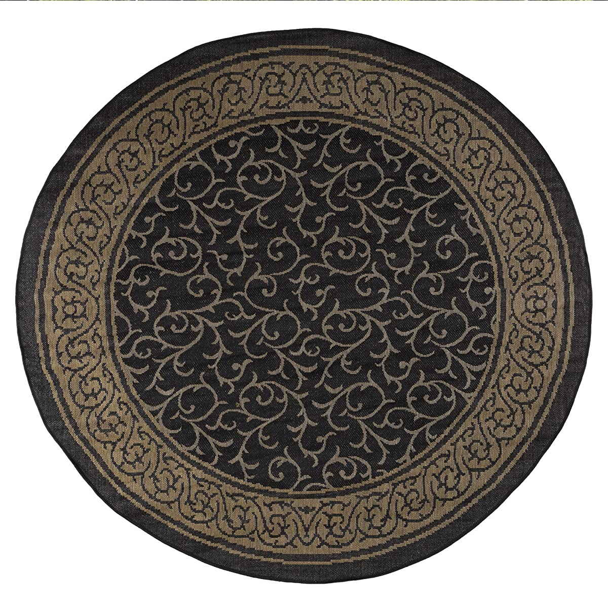 8 foot Round Area Rug, Indoor Outdoor Stain Resistant and Water Repellant Vine Ornate Rug by Lavish Home (Black and Tan) (Accent Rug for Home Decor)