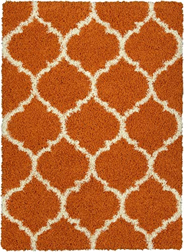 Sweet Home Stores Cozy Shag Collection Orange White Trellis Shag Rug 5'3'' X 7' Contemporary Living and Bedroom Soft Shaggy Area Rug