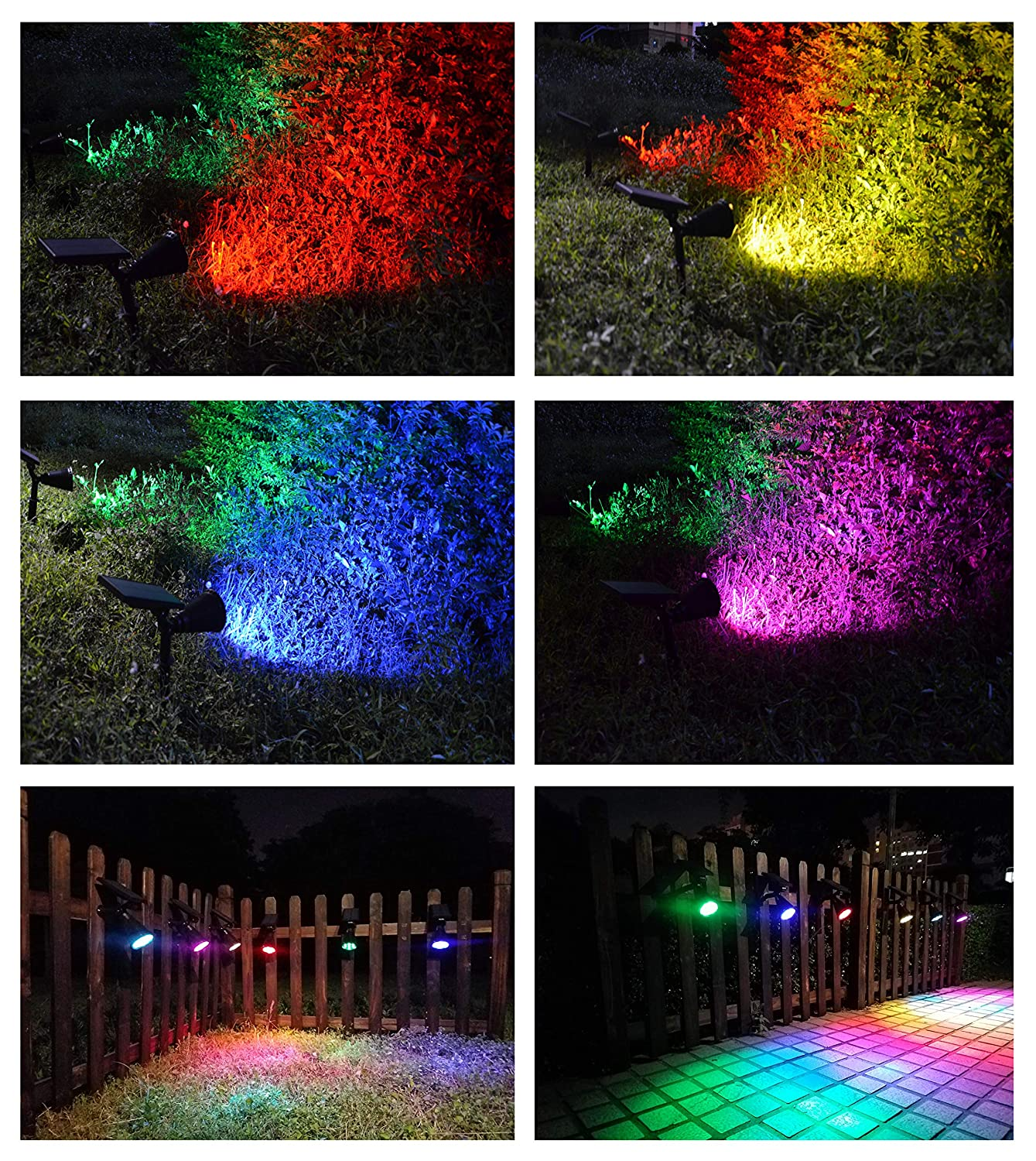 Amazon.com : Lapeort Solar Lights Outdoor 2-in-1 Waterproof Solar Spotlights Colored 7 LED Garden Wall Lighting Dusk to Dawn for Landscape Trees Yard ...