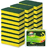 Cleaning Heavy Duty Scrub Sponge by Scrub-it - Scrubbing Sponges Use for Kitchen, Bathroom & More - Yellow -24 Pack-