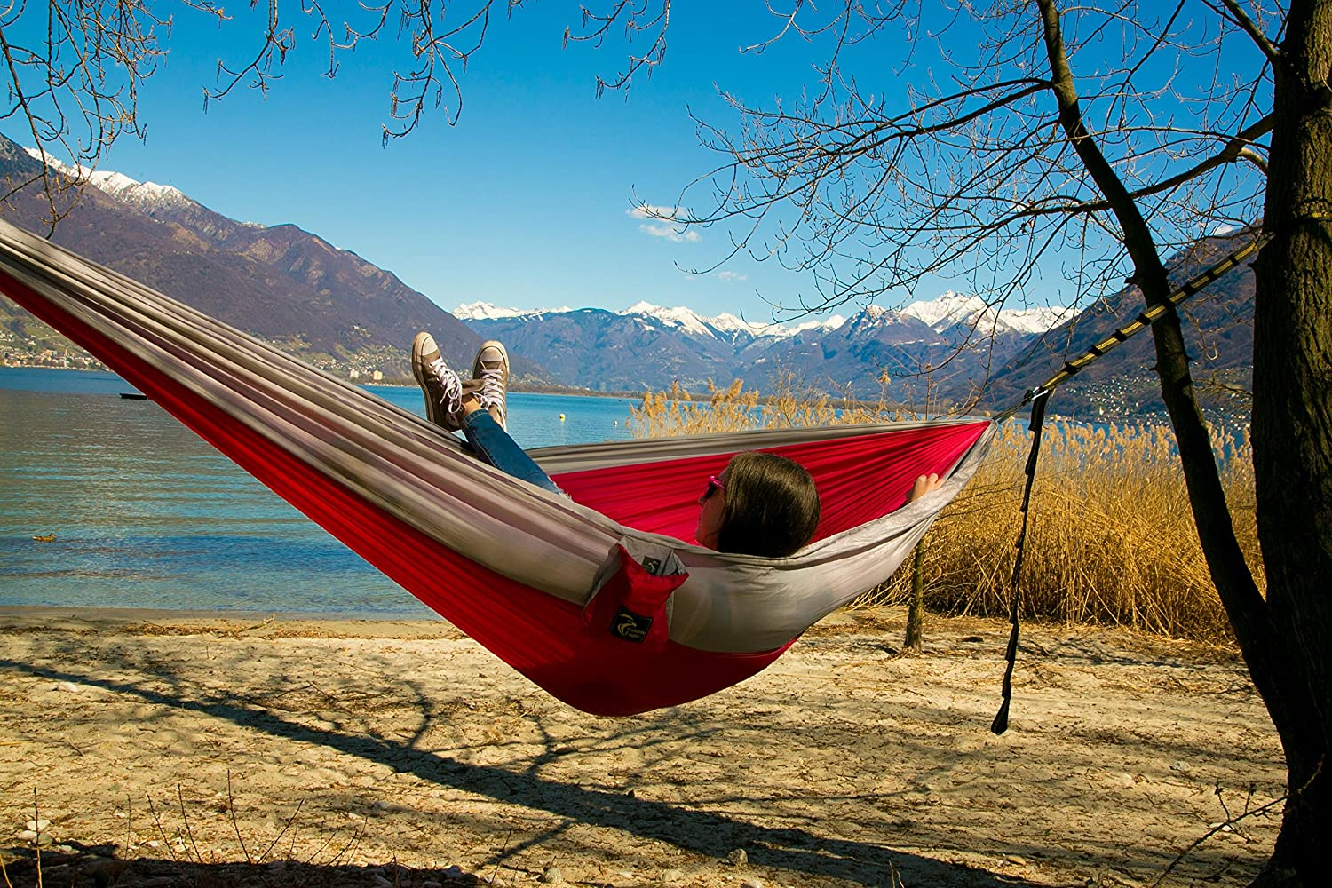 Golden Eagle SUMMER SALE - Double Camping Hammock Set - Incl. 2 carabiners and 2 ropes - 118 x 78 in - 600 lbs load Lightweight Parachute Nylon 210T Travel Hammock. Great Gift.2 YEAR WARRANTY. Other
