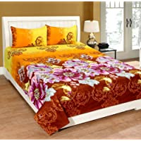 HFI Polycotton Double Bedsheet with 2 Pillow Cover