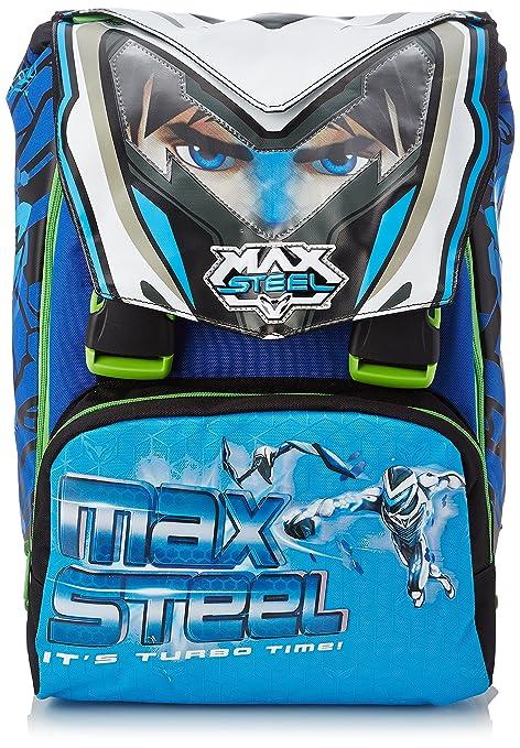 Max Steel - Escuela Mochila expandible con Gadget, 28 litros, Azul