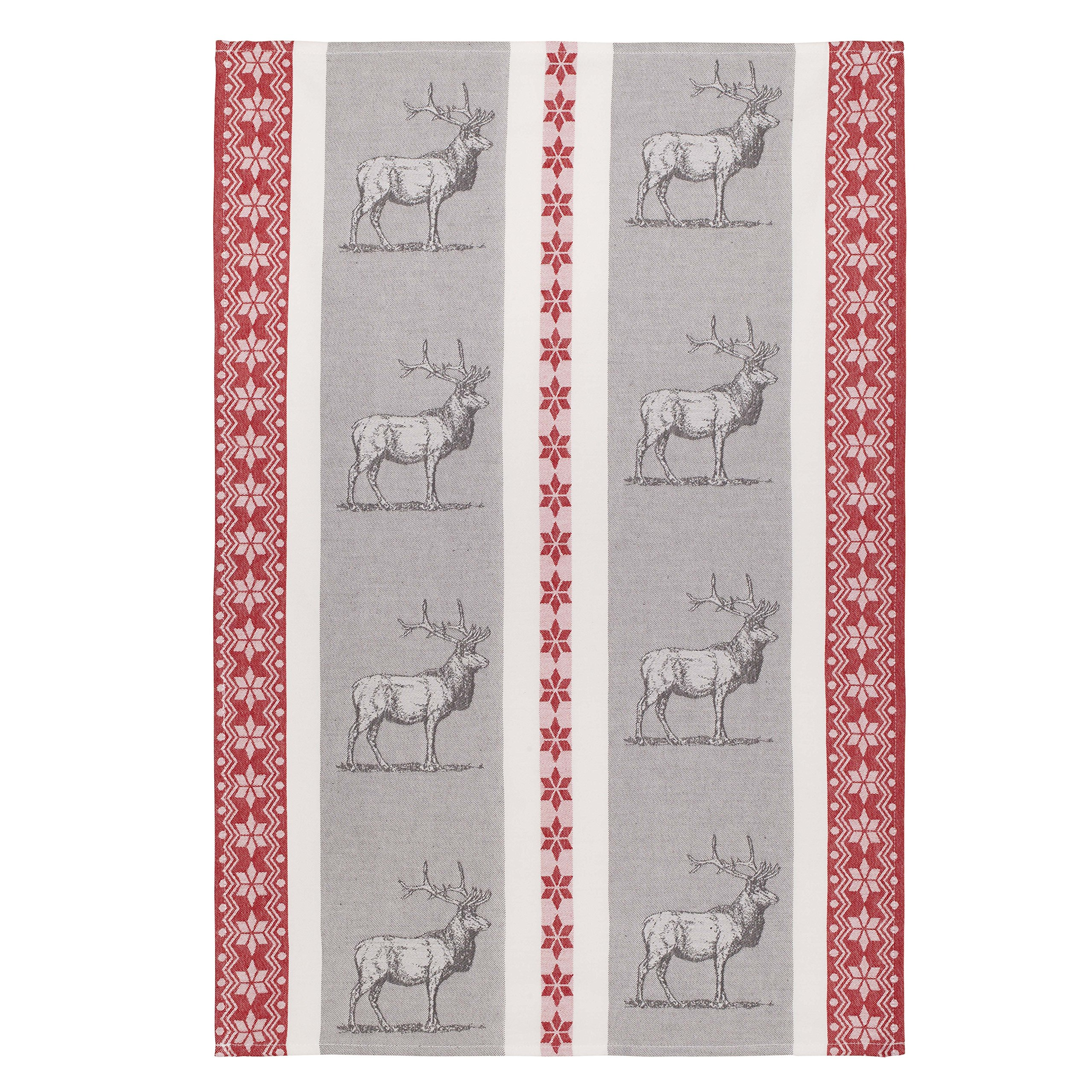 Coucke French Cotton Jacquard Towel Farm Animal Collection, Le Cerf (Deer), FB Rouge, 20-Inches by 30-Inches, Gray and Red