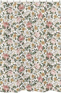 Sweet Jojo Designs Vintage Floral Boho Bathroom Fabric Bath Shower Curtain - Blush Pink, Yellow, Green and White Shabby Chic Rose Flower Farmhouse