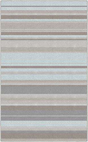 Brumlow Mills Pastel Blue Traditional Striped Area Rug 7'6″ x 10',