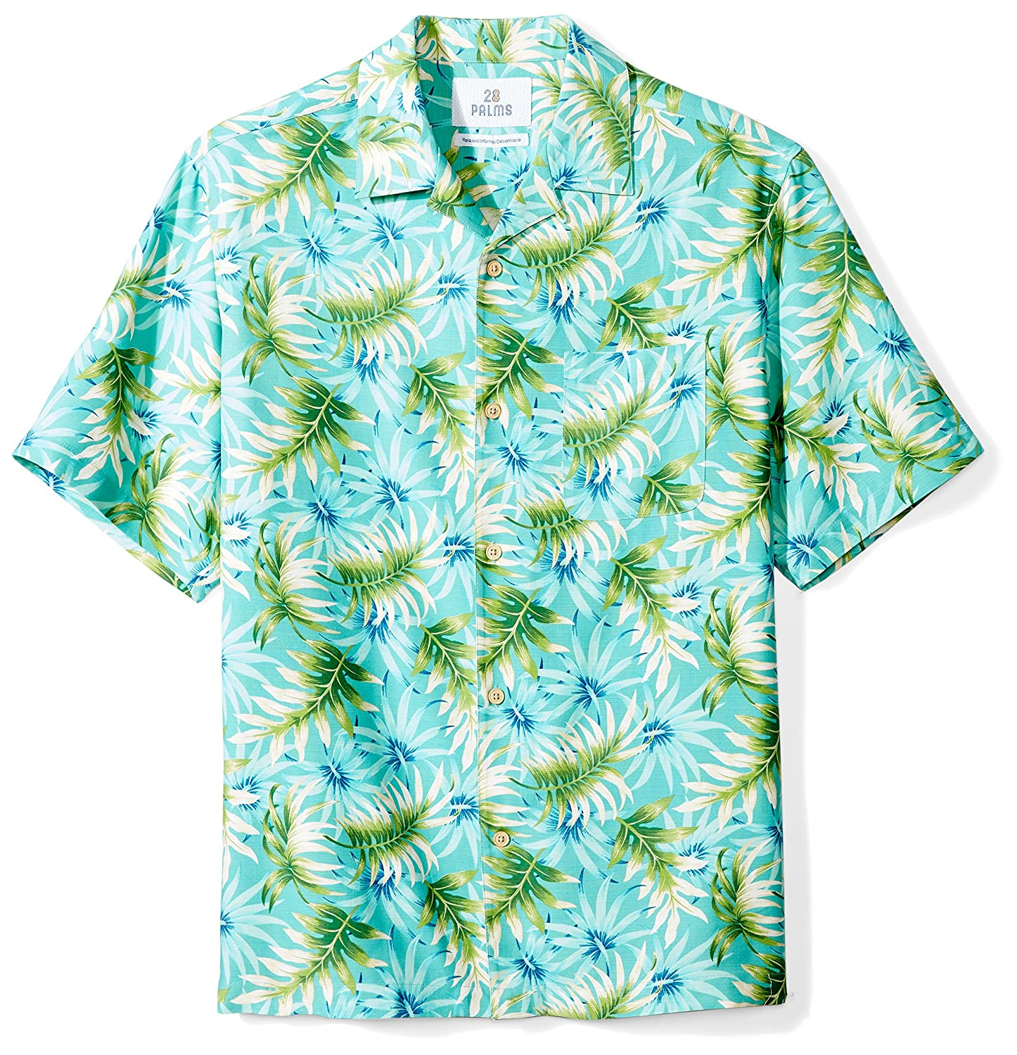 eb5967a96 Amazon.com: Amazon Brand - 28 Palms Men's Relaxed-Fit 100% Textured Silk  Tropical Hawaiian Shirt: Clothing