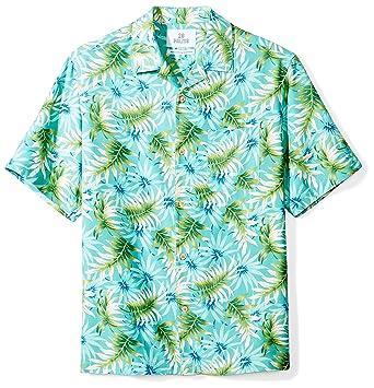 31b07fd6 28 Palms Men's Relaxed-Fit 100% Silk Tropical Hawaiian Shirt, Aqua/Green