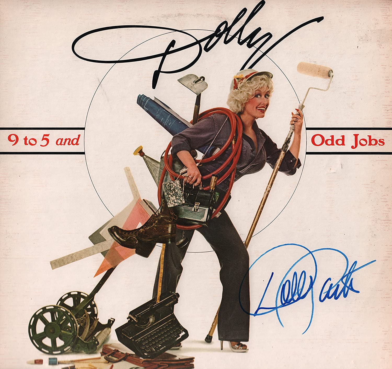 DOLLY PARTON Burlap & Satin signed LP record album