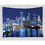 Cityscape Tapestry by Ambesonne, Skyscrapers Downtown Pittsburgh USA American Night Skyline Business Town Scenery, Wall Hanging for Bedroom Living Room Dorm, 60WX40L Inches, Grey Blue