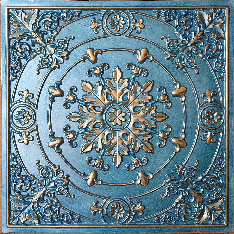 PLASTDECOR Drop in Ceiling Tiles Faux Tin Cyan Gold Cafe Decor Ceiling Panels PL18 10pcs/lot