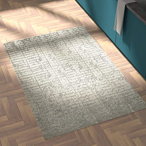 Rivet Contemporary Linear Distressed Wool Area Rug, 4 x 6 Foot, Grey