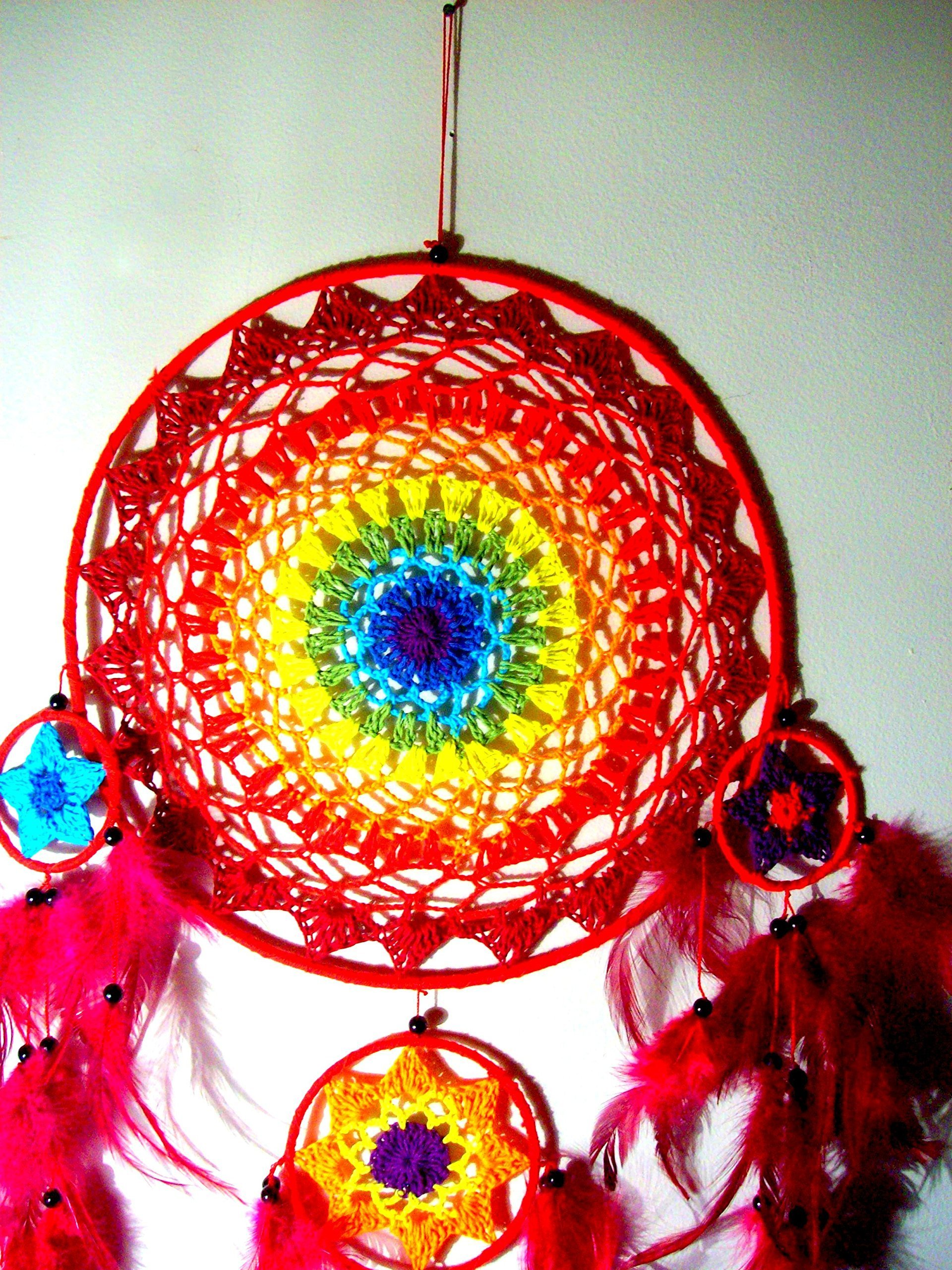 LARGE Dreamcatcher, SACRED CIRCLES, Wall hanging, home decor, Boho dream catcher, Native American, Crochet dreamcatcher mobile, Wall hanging, Tribal, RAINBOW, Chakra colors