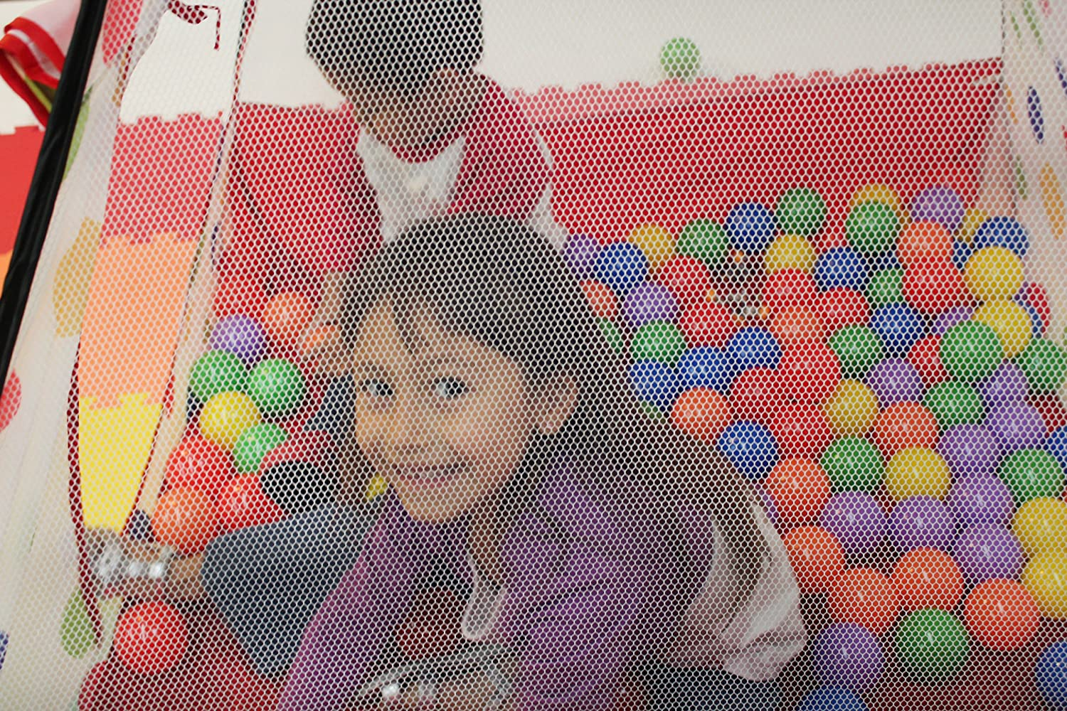 2 Piece CT-432 EWONDERWORLD Polka Dot Teepee Ball Tent House w// Tunnel /& Safety Meshing for Child Play Visibilityl /& Tote