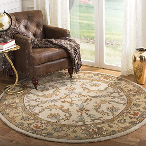 Safavieh Heritage Collection HG967A Handcrafted Traditional Oriental Beige and Gold Wool Round Area Rug 6 Diameter