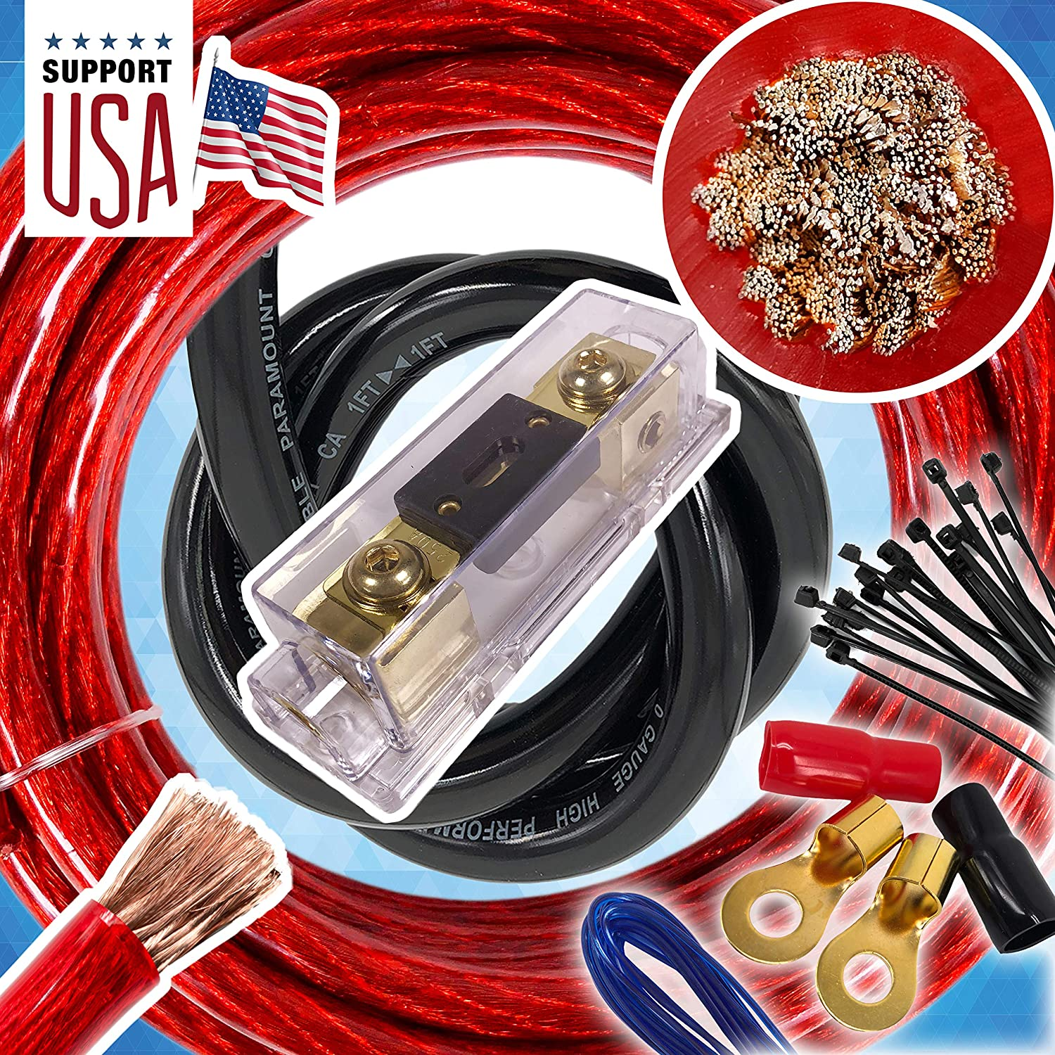 Audio360 USA 0 Gauge Cable 5000W HOT Car Amplifier Installation Power Amp Wiring Kit 1//0 Ga Red for Car Stereo