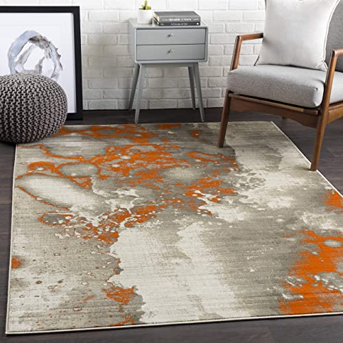 Ines Light gray and burnt orange Modern Area Rug 7 6 x 10 6