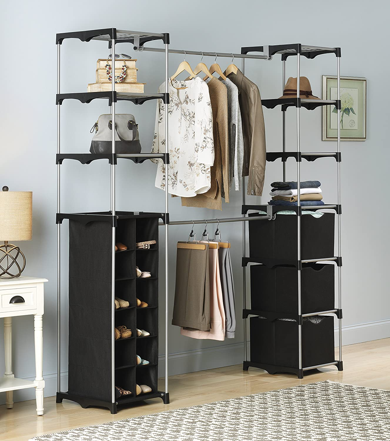 Amazon.com: Whitmor Deluxe Double Rod Adjustable Closet Organization  System: Home U0026 Kitchen