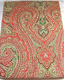 Ralph Lauren Fenton Paisley Red Green Cotton Tablecloth, 60 By 120 Inch  Oblong