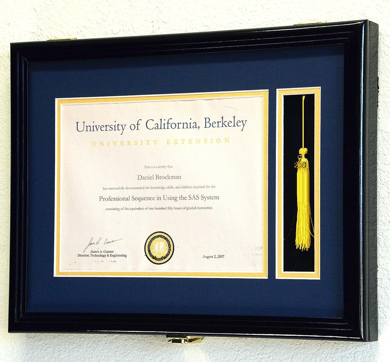 Graduation Diploma And Tassel Frame Display Case 11 X 8 5 W Custom Matting Black Finish