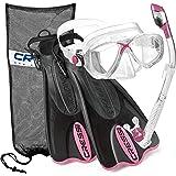 Cressi Palau Mask Fin Snorkel Set with Snorkeling Gear Bag, Pink, S/M | (Men's 4-7) (Women's 5-8)