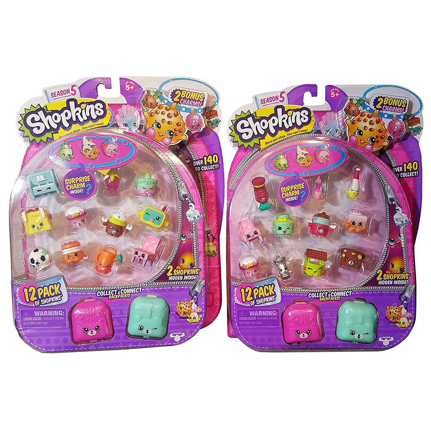NEW SHOPKINS 5 PACK SEASON 5 BACKPACK CHARMS TOY FIGURE COLLECTIBLE