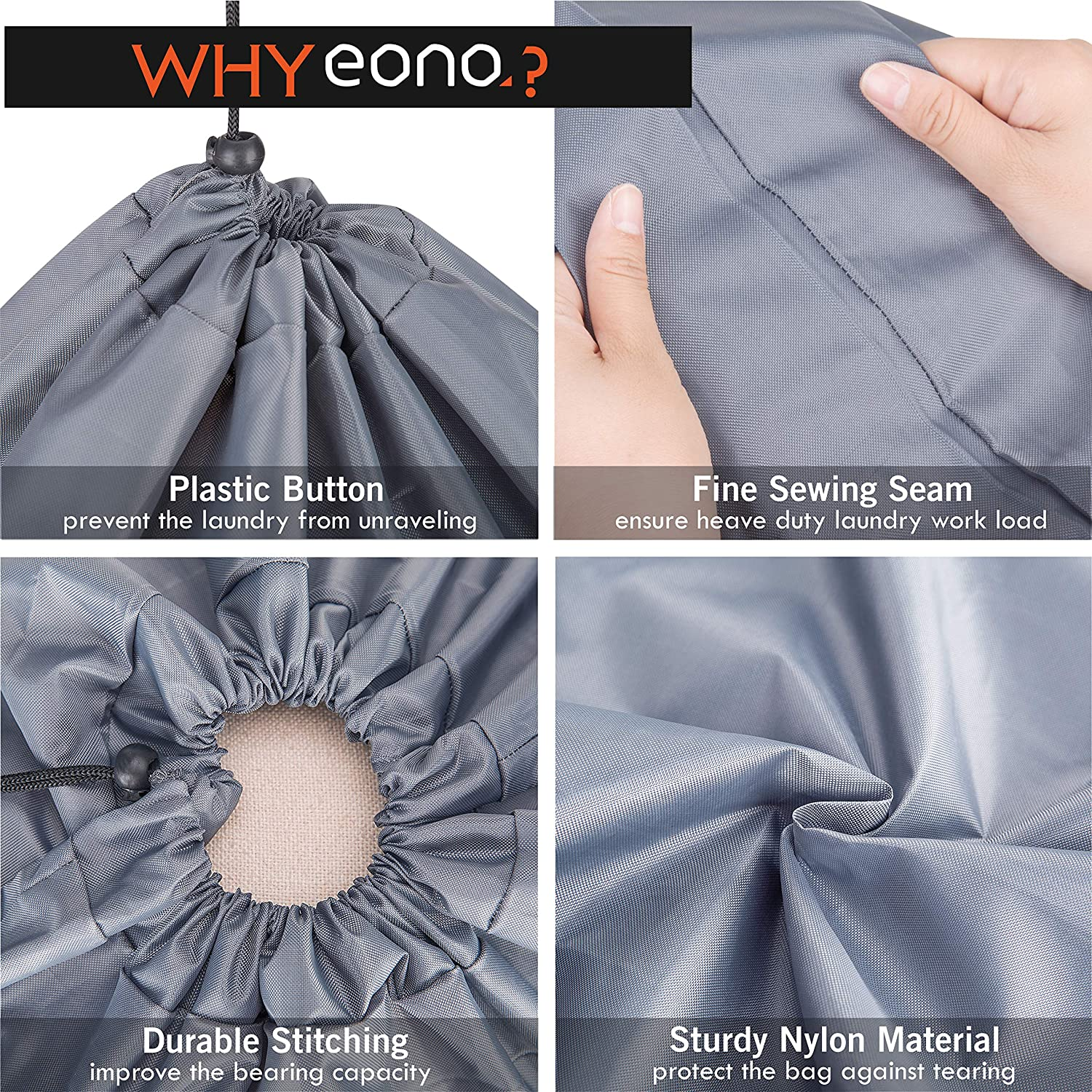 Foldable Storage Bag with Drawstring Cord Lock Dark Grey Blanket Quilt Bag Dirty Clothes Bags for Home or Dormitory as Travel Bag Eono  Brand Extra Large Laundry Bags