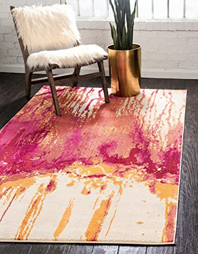 Unique Loom Estrella Collection Modern Abstract Multi Area Rug 5 0 x 8 0