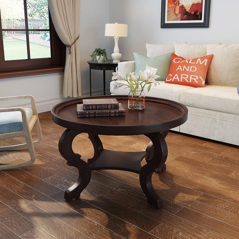 Amazon.com: Alteri Dark Walnut Finished Faux Wood Circular ...
