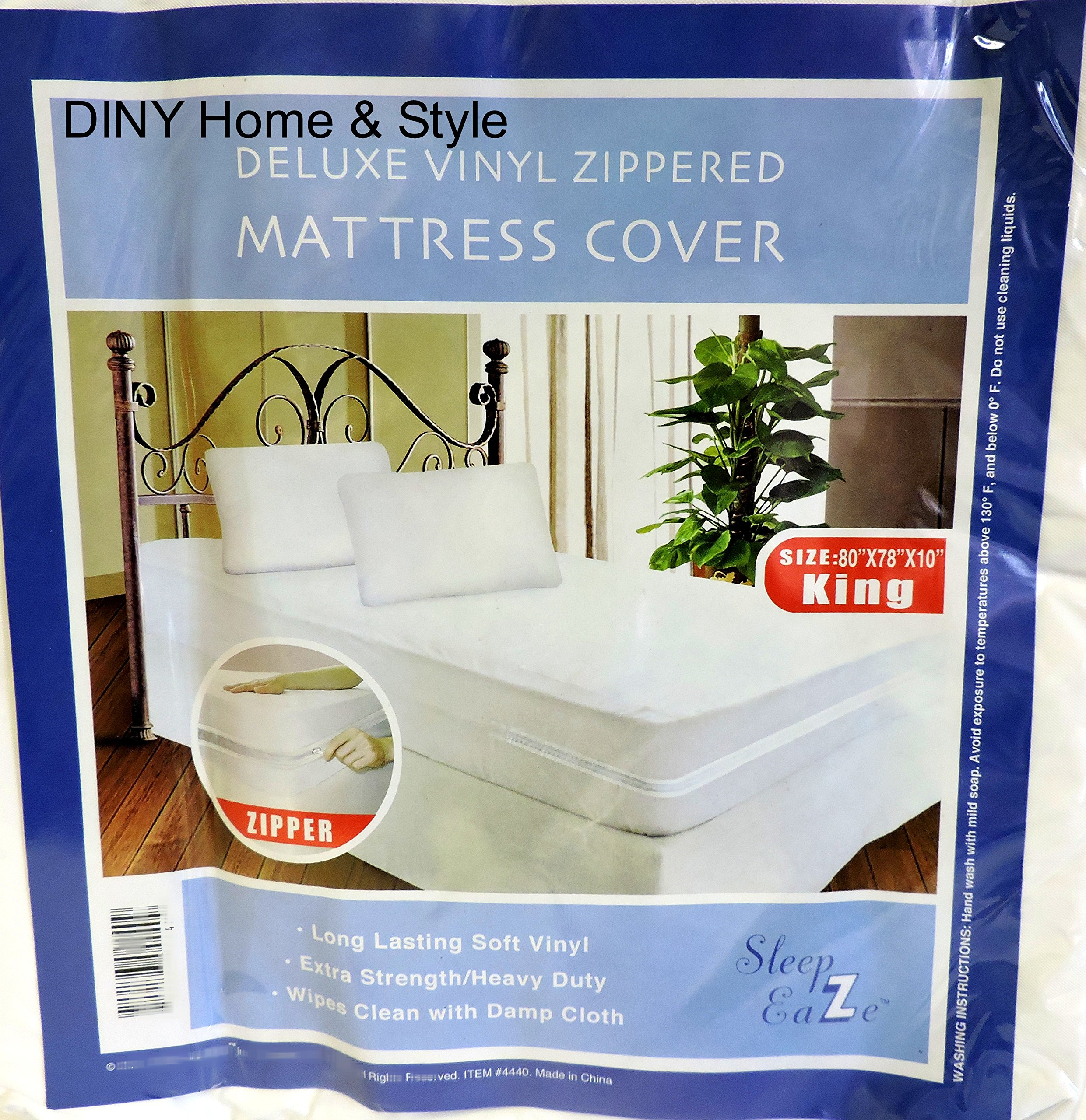 King Size Zippered Mattress Cover Vinyl Keeps Out Bed Bugs & Dust Mites Water Resistant Protector 10'' Wide 80'' X 78'' By Diny Home & Style